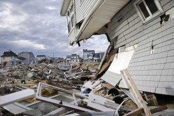 Homes damaged by Superstorm Sandy are seen in this April 2013 image from the Ortley Beach section of Toms River. (AP Photo)