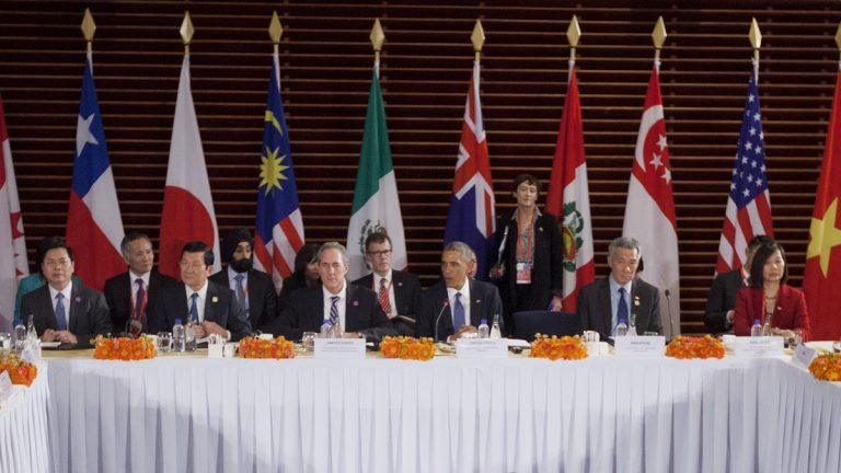 In this Nov. 10, 2014 file photo, President Barack Obama, center, speaks during a meeting with leaders of the Trans-Pacific Partnership countries, in Beijing. From left: Vietnam Minister of Industry and Trade Vu Hoy Hoang, Vietnam Prime Minister Nguyen Tan Dung, U.S. Trade Representative Ambassador Mike Froman, Singapore Prime Minister Lee Hsien Loong, and Singapore Sec. of Ministry of Trade and Industry Ow Foong Pheng. (AP Photo/Pablo Martinez Monsivais, File)
