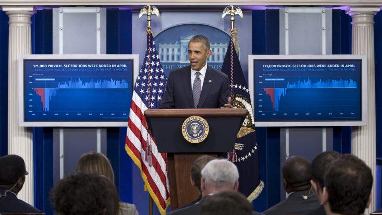President Barack Obama speaks in the White House briefing room in Washington