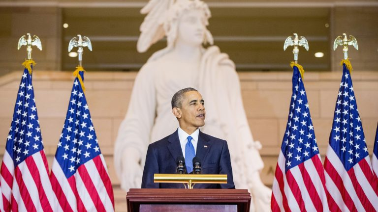President Barack Obama speaks in Emancipation Hall on Capitol Hill in Washington, Wednesday, Dec. 9, 2015,  during a commemoration ceremony for the 150th anniversary of the ratification of the 13th Amendment to the U.S. Constitution which abolished slavery in the U.S. (AP Photo/Andrew Harnik)