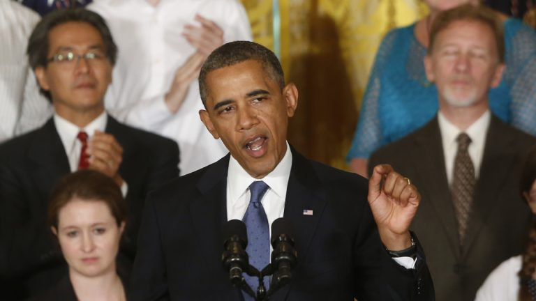 President Barack Obama is shown on July 18, 2013, touting the Affordable Care Act. (AP Photo/Charles Dharapak, file)