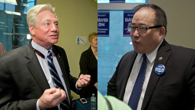 Incumbent Republican council at-large candidates Dennis O'Brien (left) and David Oh. (NewsWorks file photos)
