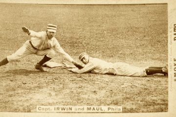 Early baseball card from 1887 showing Arthur Irwin and Albert Maul of the Philadelphia Quakers.  The team nickname, The Phillies, eventually became the official name.