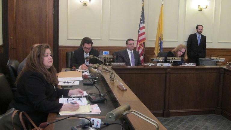 New Jersey Assembly's Consumer Affairs Committee holds a hearing on legislation that would stop retailers from scanning a customer's driver's license during the return of merchandise. (Phil Gregory/WHYY)