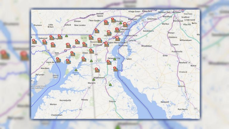 Delmarva Power's outage map shows where the problem spots remain after Tuesday's storms. (image from Delmarva Power)