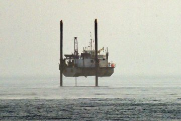 A large offshore drilling rig located off of Rehoboth Beach for test borings and underwater surveys for the sewage outfall pipe. (Chuck Snyder for Newsworks)