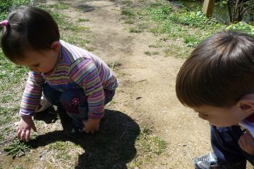 Jen Bradley's daughter and son searching for signs of spring. (Courtesy of Jen Bradley)