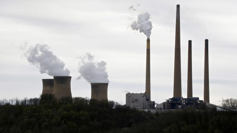 This photo taken May 5, 2014 shows the stacks of the coal-fired Homer City Generating Station in Homer City, Pa. (Keith Srakocic/Associated Press)