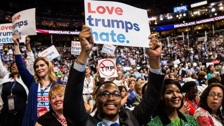 Pennsylvania delegates are shown on the floor of the 2016 Democratic National Convention in Philadelphia on July 25. (Kimberly Paynter/WHYY)