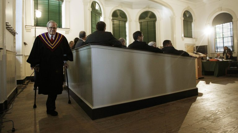 In this 2011 file photo, Pennsylvania Supreme Court Chief Justice Ronald D. Castille exits the court room  at Philadelphia's historic Old City Hall.(AP Photo/Matt Rourke)