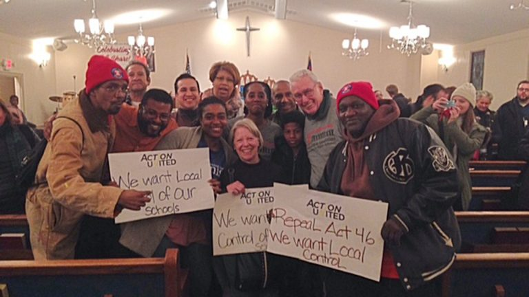 A coalition of three Pennsylvania groups joined a rally of York students, parents and teachers against the proposed charterization of the struggling school district at Bethlehem Baptist Church in York, Pa.  (Image courtesy of PSEA Eastern and Southern Region Communications)