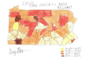 The 'Child Food Insecurity Map' submitted by George Matysik from Philabundance shows the percentage of children who are hungry in Pennsylvania.