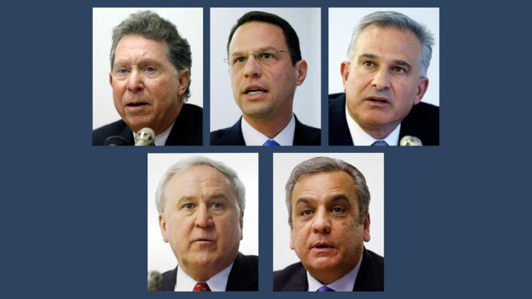 Candidates for Pennsylvania attorney general (clockwise from top left) are Democrats Northampton County District Attorney John Morganelli; Montgomery County Commissioner Josh Shapiro; Allegheny County District Attorney Stephen Zappala; and Republicans Joe Peters and  state Sen. John Rafferty of Montgomery County. (AP file photos)