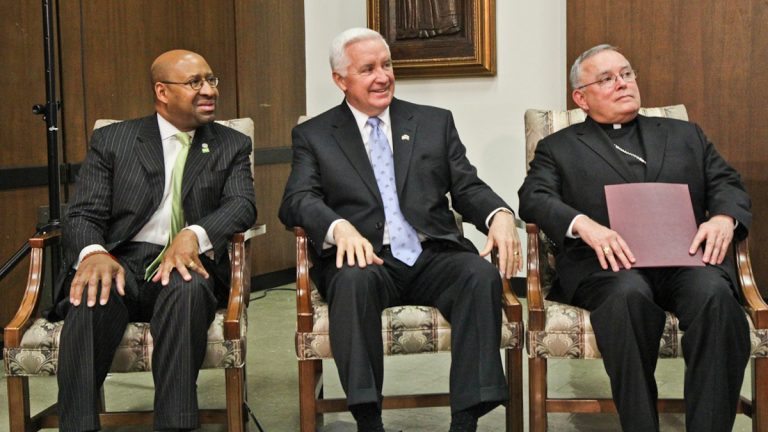 Philadelphia Mayor Michael Nutter, Pa. Governor Tom Corbett, and Archbishop Charles Chaput's private meeting with Pope Francis scheduled for Wednesday was canceled. (Kimberly Paynter/WHYY)