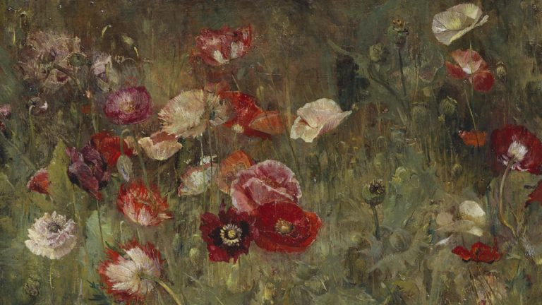 The Artist's Garden: American Impressionism and the Garden Movement, 1887-1920, opening at the Pennsylvania Academy of the Fine Arts, February 13. Pictured:Maria Oakey Dewing (1845-1927), A Bed of Poppies, 1909. Photo courtesy of PAFA.