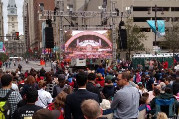 The view of the papal Mass from the Kimmel Center on South Broad Street. (Image courtesy of Bill Chenevert)