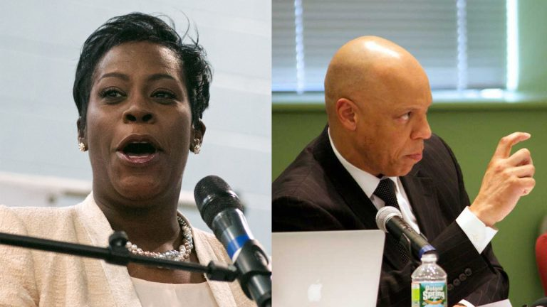 Philadelphia Councilwoman Cherelle Parker questioned schools superintendent  William R. Hite on the district's $88 million surplus.  (Bastiaan Slabbers and Nathaniel Hamilton/for NewsWorks)