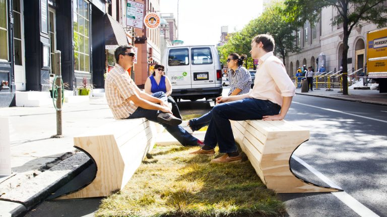 The concept behind this  3rd & Market parklet from last season named Curb Appeal is that the asphalt is being pulled back to form this space. (Brandon Reynolds/for NewsWorks)