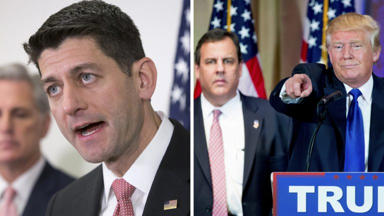 Left: House Speaker Paul Ryan told reporters on Tuesday that anyone who wants to be the Republican presidential nominee must reject any racist group or individual. (AP Photo/J. Scott Applewhite) Right: Republican presidential candidate Donald Trump