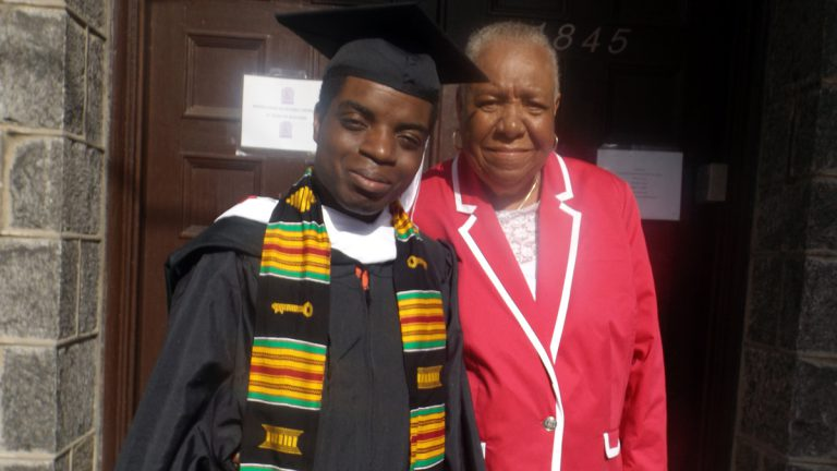 The author is shown with his cousin on graduation day. (Image courtesy of Peak Johnson)