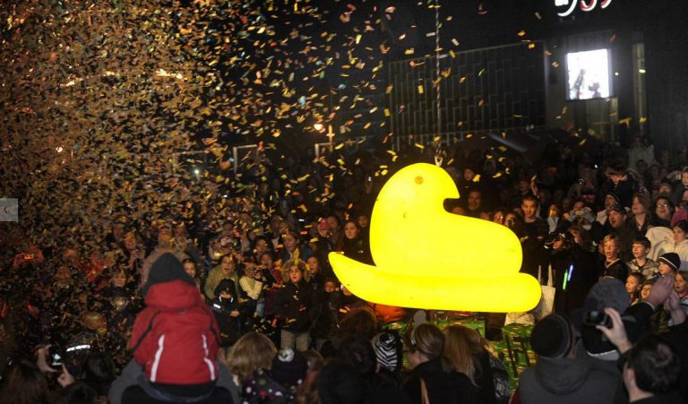 New Year's Eve in Pennsylvania. In Bethlehem, an 85-lb Peep is dropped at the end of PeepsFest. (Image courtesy of DONNA FISHER/THE MORNING CALL)