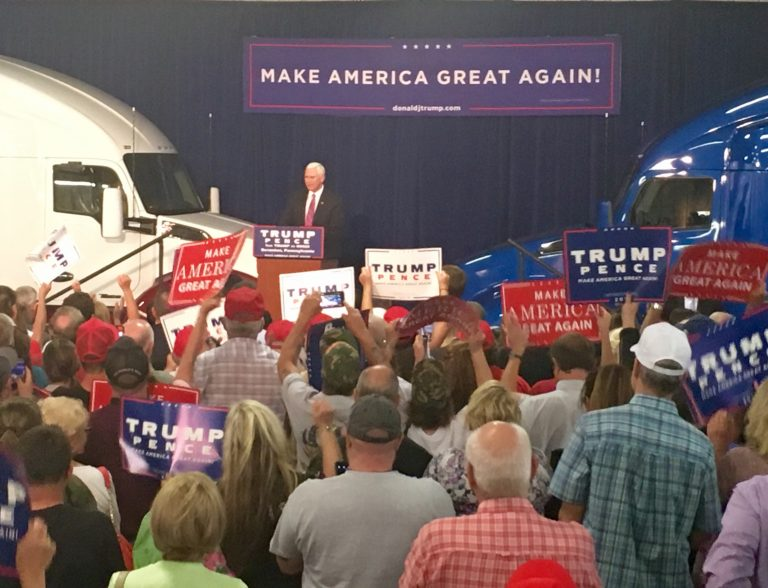 Republican Vice-Presidential nominee Mike Pence addressed a crowd at Kenworth of Pennsylvania Wednesday night. (Eleanor Klibanoff/WPSU)