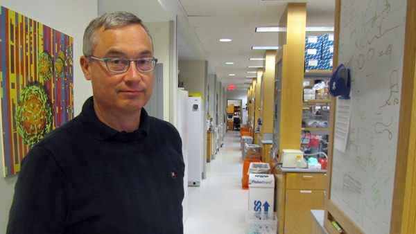 Rick Bushman is a microbiologist at the University of Pennsylvania studying the human microbiome in hopes of better understanding the role of microbes in human health. (Elana Gordon/WHYY)