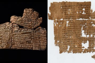 This ancient clay tablet (left) marked with cuneiform, a written language unique to ancient Mesopotamia, and a fragment of St. Matthew's Gospel (right), written in the 3rd century, are on display at the Penn Museum. (Images courtesy of Penn Museum.)