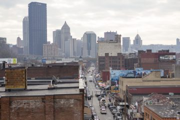 Aerial view of Penn Avenue looking toward downtown Pittsburgh.  (Jessica Kourkounis/For Keystone Crossroads)