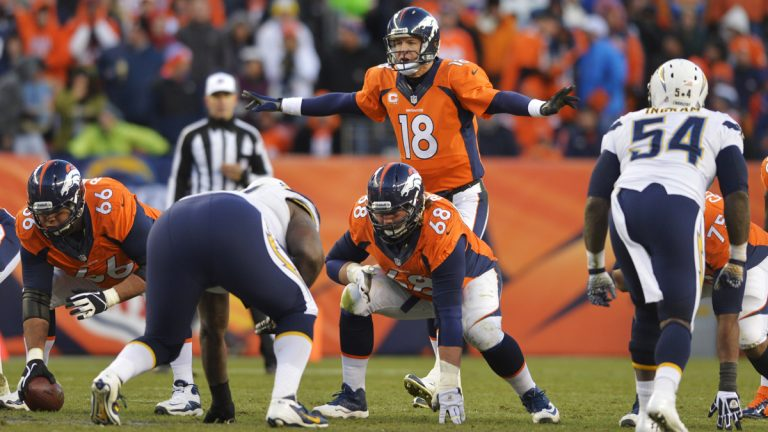 Denver Broncos quarterback Peyton Manning (18) calls an audible at the line of scrimmage against the San Diego Chargers in the fourth quarter of an NFL AFC division playoff football game, Sunday, Jan. 12, 2014, in Denver. (AP Photo/Jack Dempsey)