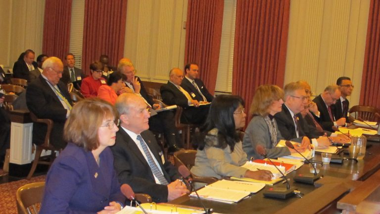 New Jersey higher education officials testify before the Assembly Budget Committee (Phil Gregory/WHYY)