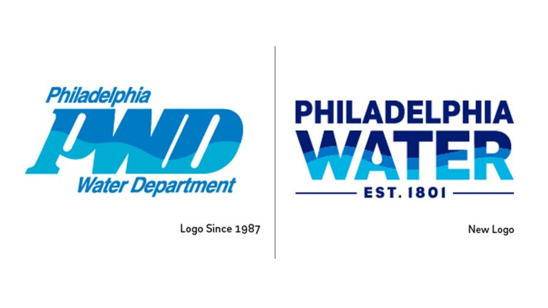 The old and new Philadelphia Water Department logos (Images via phillywatersheds.org)