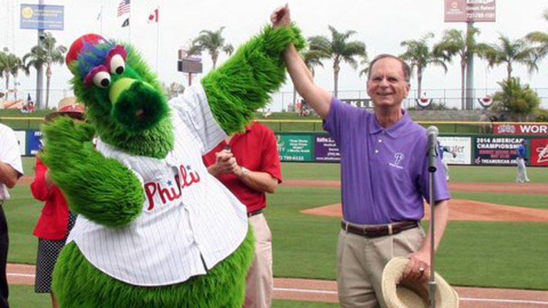 The Phillie Phanatic and George Cretekos, mayor of Clearwater, Florida (Photo courtesy of Cretekos)