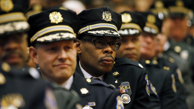Philadelphia Police officers listen to their newly sworn in Commissioner Richard Ross speak during a ceremony Tuesday, Jan. 5, 2016. The latest report for Philadelphia's stop-and-frisk program showed that one-third of stops conducted by police officers last year were done so illegally.  (AP Photo/Matt Rourke, file)