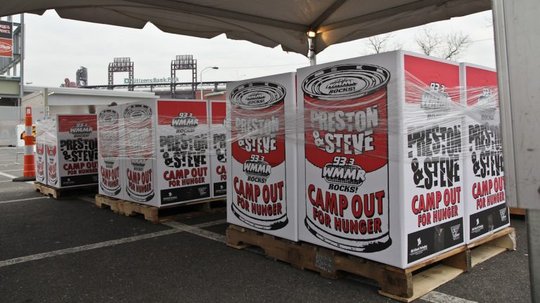 Popular Philadelphia radio DJs Preston and Steve are camped out for the entire week in the Xfinity Live! parking lot in South Philadelphia's sports complex area collecting food donations for Philabundance. (Kimberly Paynter/WHYY)
