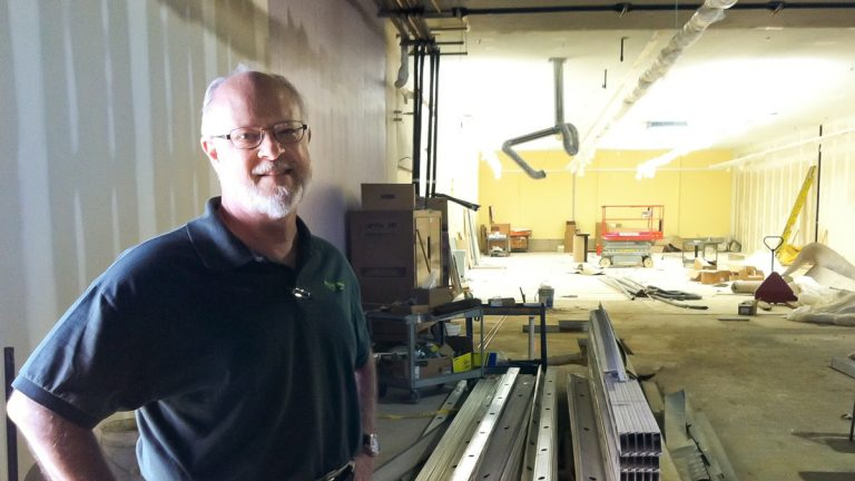 Bill Clark, executive director of philabundance, inside the site of Fare and Square in July. (Elana Gordon/WHYY)
