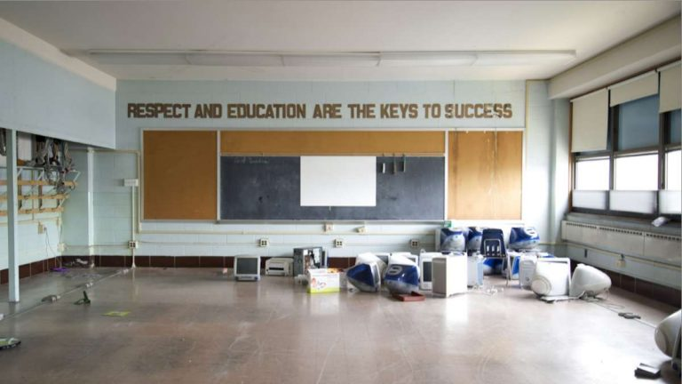 The inside of a closed Philadelphia school. Check back next week for a full story on a photo exhibit that documents the closing of 24 Philadelphia schools including Germantown High School and Fulton Elementary School. (Photo courtesy of Katrina Ohstrom)