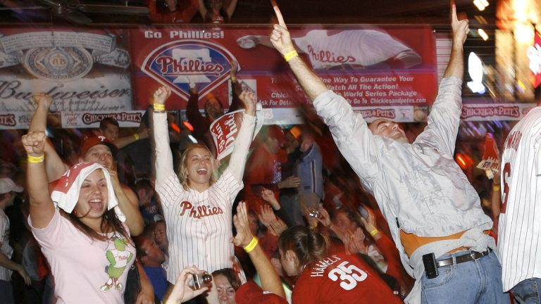 It's been five years since Phillies fans celebrated their team's victorious moment after the final out of the 2008 World Series.  The Phillies beat the Tampa Bay Rays 4-3 in game 5 of the series for their first world championship since 1980. (AP Photo/Mark Stehle)
