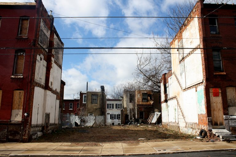 Vacant lots on the 2100 block of North 9th Street in Philadelphia, near Temple University. Eighty percent of the block's properties were tax-delinquent. (Jared Brey/PlanPhilly)
