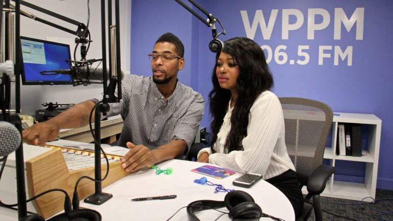 Hosts Derwood Shelby and Tia Whitfield get ready to go live with WPPM 106.5