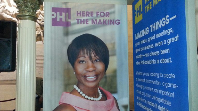 Philadelphia unveiled its new marketing slogan: PHL Here for the Making.  (Tom MacDonald/WHYY)