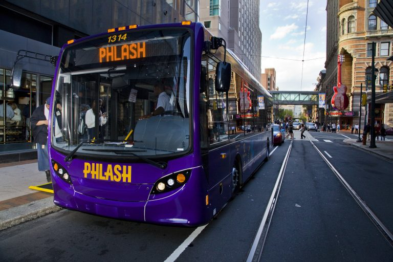 New Phlash Bus is bigger and roomier than the trolley-style buses it replaces (Tom MacDonald/WHYY)