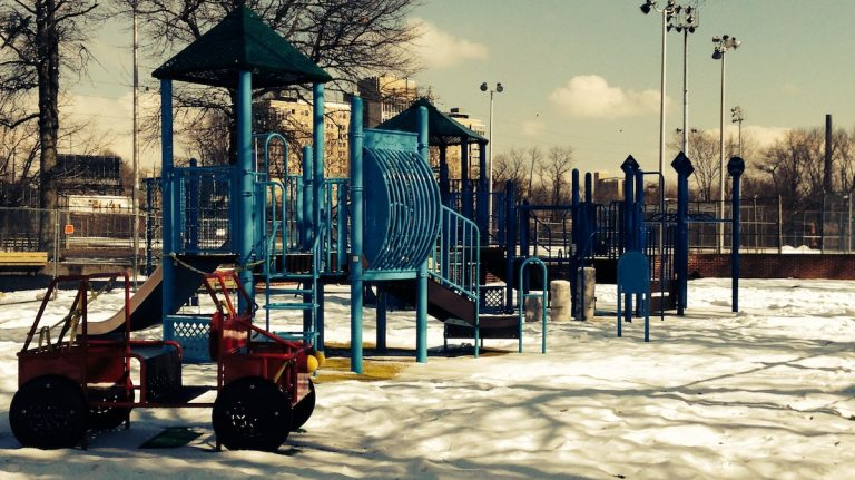 The refurbished playground at McDevitt Rec Center, several days before a grand-opening party. (Brian Hickey/WHYY)