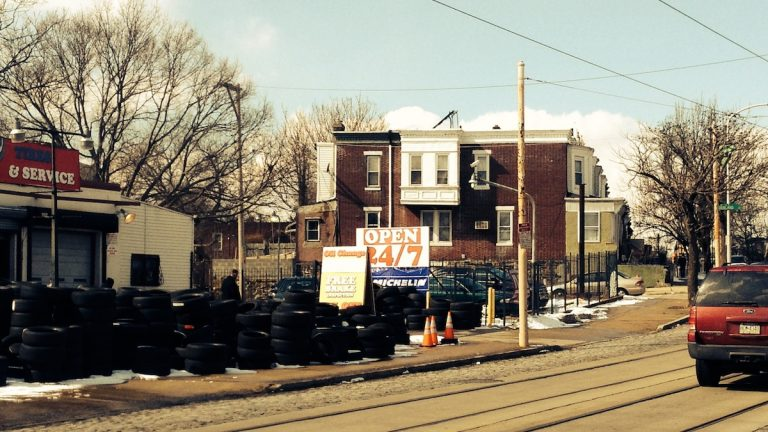 A view of what some residents deem an eyesore at the corner of West Rockland St. and Germantown Ave. (Brian Hickey/WHYY)