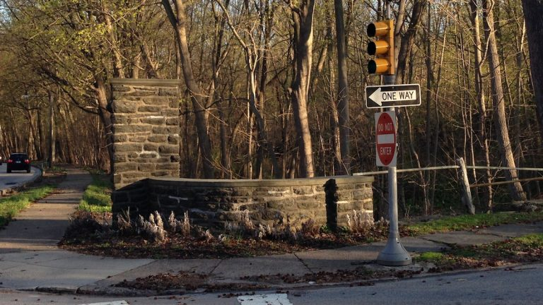 A remainder of the former gateway on Lincoln Drive and Johnson Street. (Neema Roshania/WHYY)