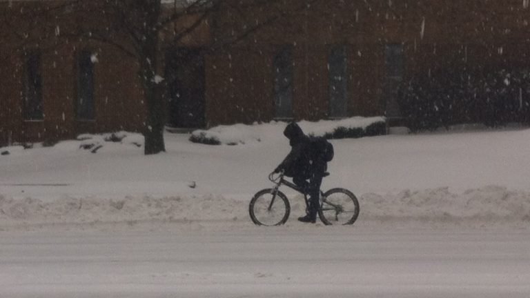 Ambitious biker rides along North Broad near Girard Avenue (Elizabeth Fiedler/WHYY)