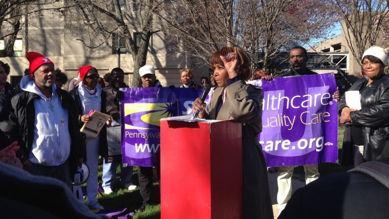 Councilwoman Blondell Reynolds Brown speaking at Wednesday's rally. (Neema Roshania/WHYY)