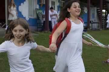Gabrielle Kaplan-Mayer's daughter (right) enjoying camp. (Courtesy of Camp Eden Village)