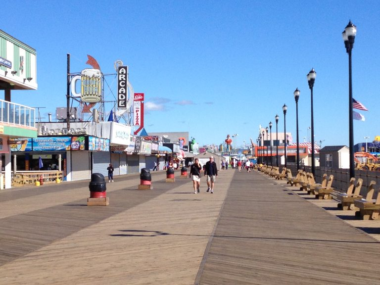 The Seaside Heights boardwalk around 10:00 a.m. today.