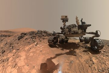 Mars rover Curiosity takes a self portrait on lower Mount Sharp in Gale Crater. Researchers analyzed images of pebbles taken by the rover and found some of the rocks had once traveled long distances in a river. (Image courtesy of NASA)